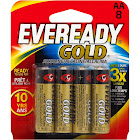 Energizer Eveready Gold Alkaline Battery, AA - 8 pack