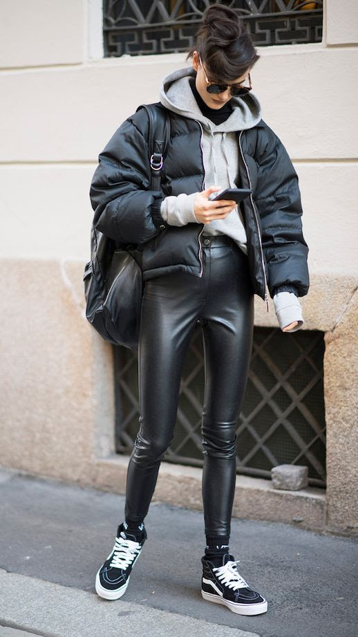 Le Fashion Blog Casual Sporty Sunglasses Grey Hoodie Black Puffer Coat Leather Leggings Black Vans Via Stylecaster