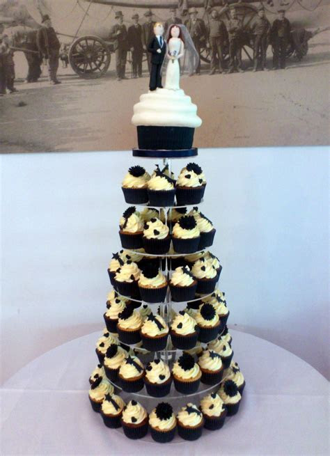 Wedding Cupcake Tower with Giant Cupcake and Bride and