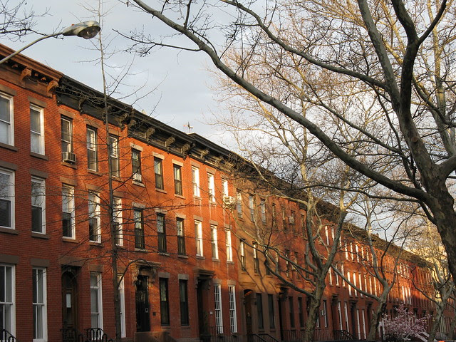 Row of Brooklyn townhouses