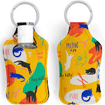 Abstract Cat Hand Sanitizer Key Ring Holder with 30ml Bottle