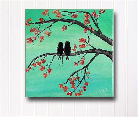 Original Canvas Painting Love Bird Painting Mint and Coral