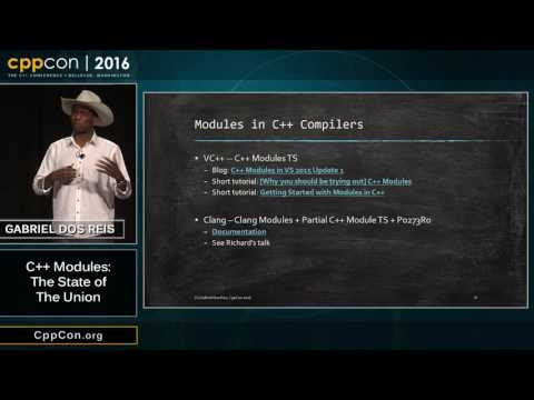 "CppCon 2016: Gabriel Dos Reis ""C++ Modules: The State of The Union"" • /r/cpp"