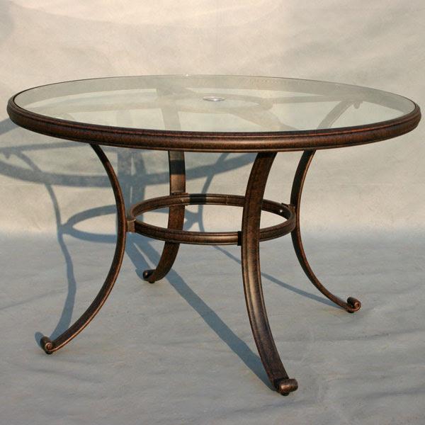 """Patio Furniture Dining Set Cast Aluminum 48"""" Round Glass ..."""