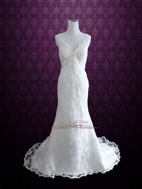 Vintage Style Lace Overlay V Neck Low Back Wedding Dress