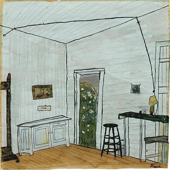 """anticipatedstranger:  Elizabeth Bishop, """"Interior with Extension Cord."""" Undated; watercolor, gouache, and ink."""