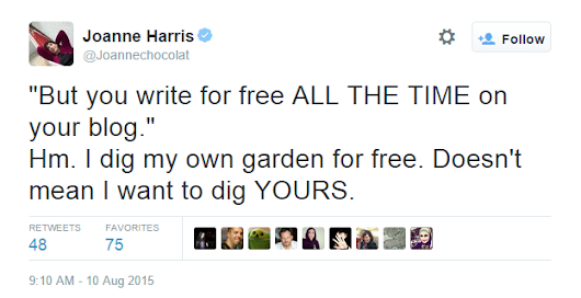 Novelist Joanne Harris on Being Asked to Work for Free