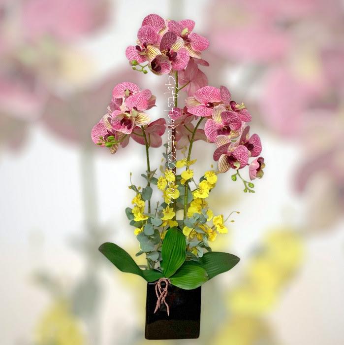 Orchids Low Arrangement Silk Flowers Artificial Flower Arrangement