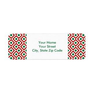 Red, White, Green Meander return address label