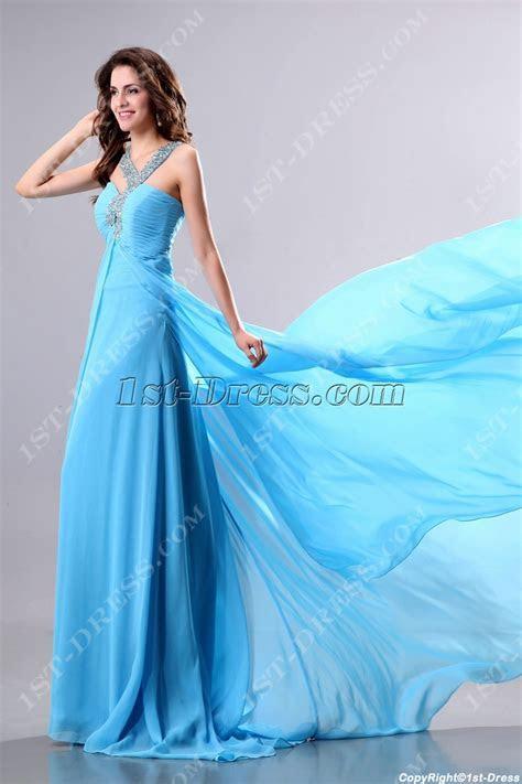 Perfect Flowing Blue Celebrity Dress:1st dress.com