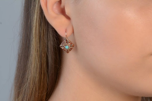 Drop Earrings with Garnet and Opal Dust French Bow Tie