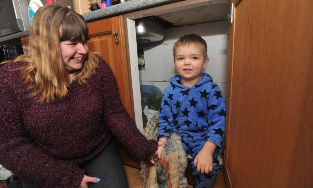 Jaden Gumm scared his mother, Becky, and sparked a 999 operation after he fell asleep in a cupboard