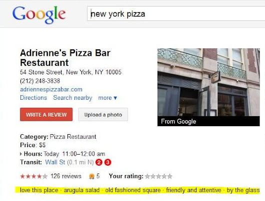Google's New Sentiment Phrase Snippets for Google Places