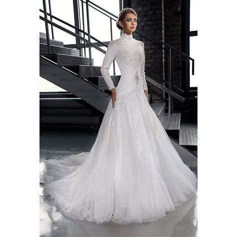 Find a White Tulle Muslim Wedding Dresses Beaded Lace High