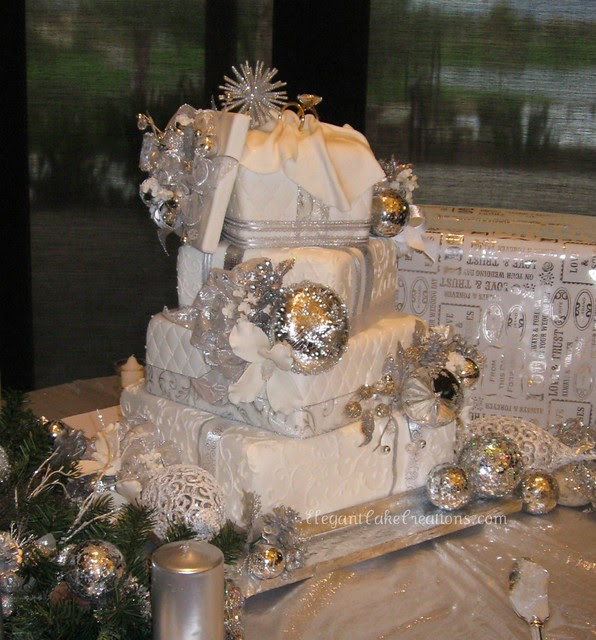 Winter Wonderland Wedding Cake Shiny winter wonderland
