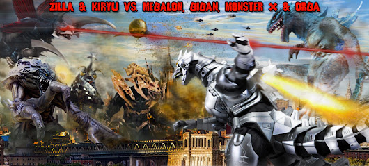 Match 164: Zilla and Kiryu vs. Megalon, Gigan (Millennium), Monster X and Orga