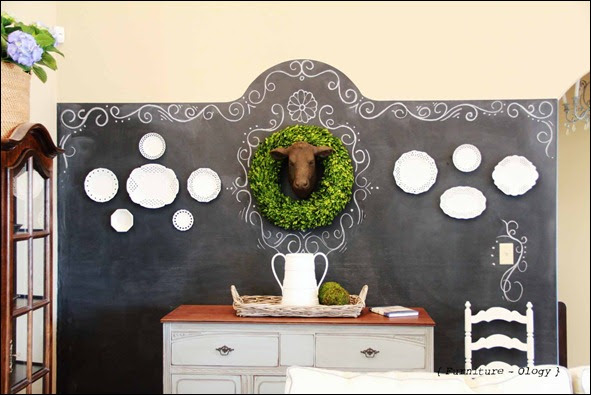 Furniture-ology chalkboard wall via The Scoop link party