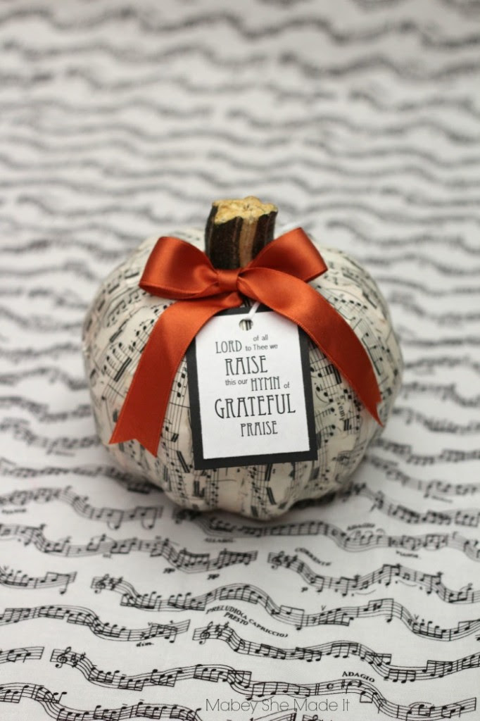 Sheet Music Pumpkin from Mabey She Made It  |  25 Creative DIY Pumpkins at www.andersonandgrant.com