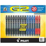 Pilot G2 Gel Pen Black Blue Red 20-pack