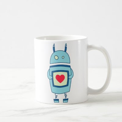 Blue Cute Clumsy Robot With Heart Mugs