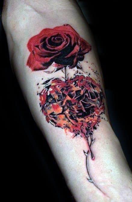 40 Broken Heart Tattoo Designs For Men Split Ink Ideas
