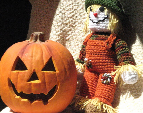 Crochet Scarecrow and Pumpkin