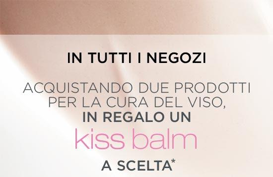 In tutti i negozi - Acquistando due prodotti per la cura del viso, in regalo un Kiss Balm a scelta