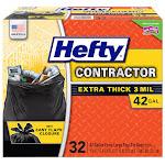 Hefty 42-Gallon 3-Mil Contractor Trash Bag, Black, 32-count