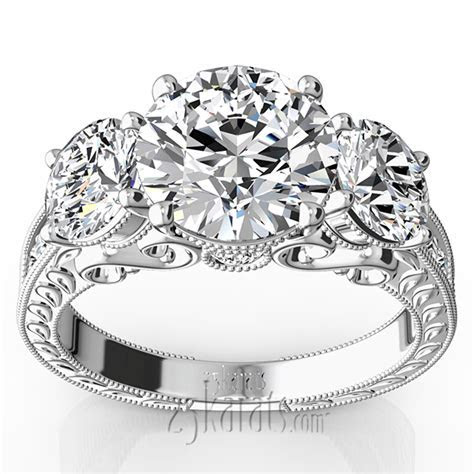 Three Stone Antique Inspired Diamond Engagement Ring (1 1