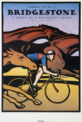cadenced:  Saddle up on a Bridgestone: A horse of a different color Bridgestone USA's first poster produced in 1993.The poster was created by English artist Christopher Wormell. To create the poster, Wormell carved images into blocks of linoleum, cutting a different block for each color, then printed the image by hand directly onto paper. This particular image was made from seven linoleum blocks, each carefully printed over the next. Found in the Horton Collection.
