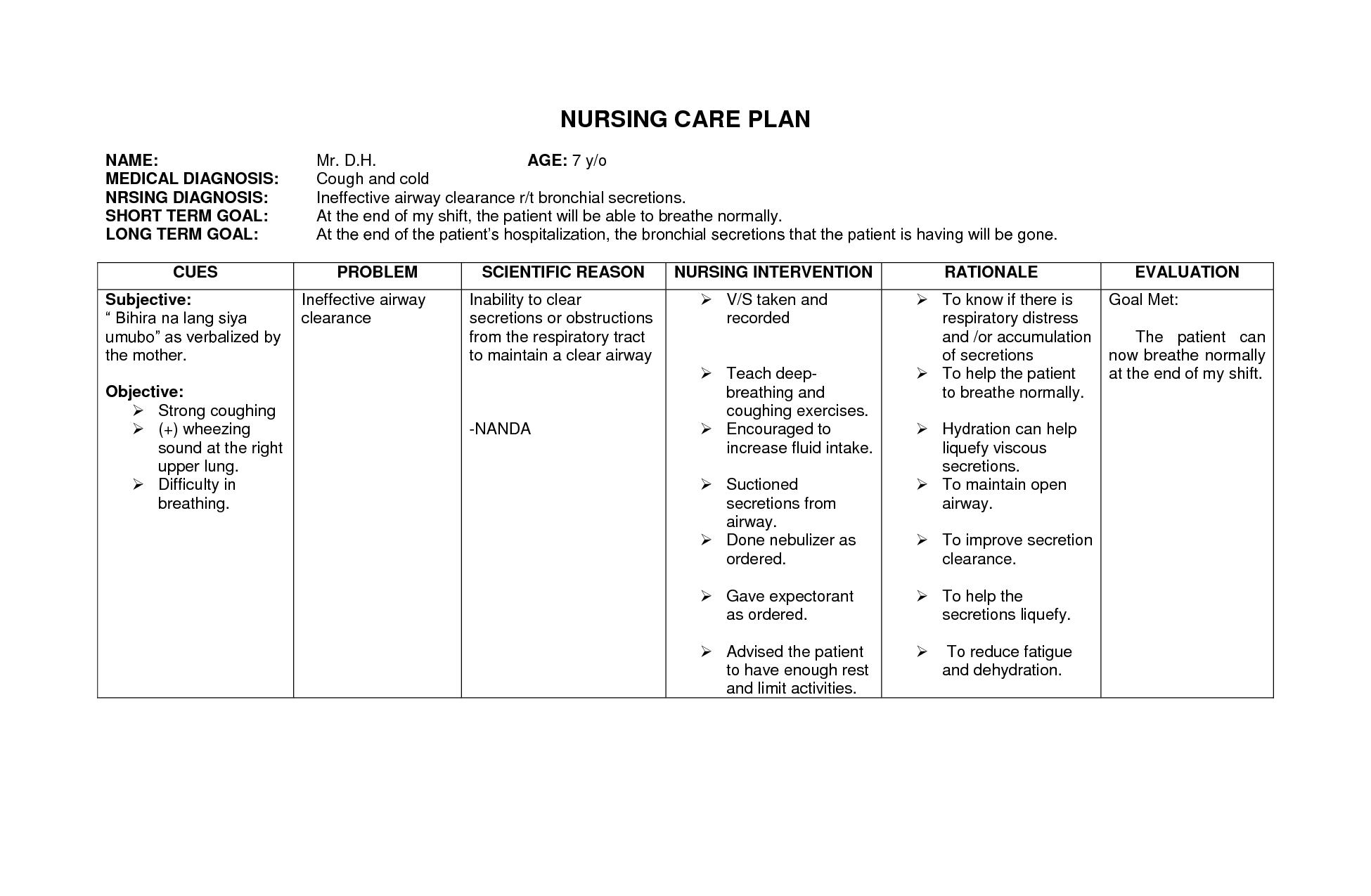 Blank Nursing Care Plans Examples Best Image Nanda Nursing Diagnosis