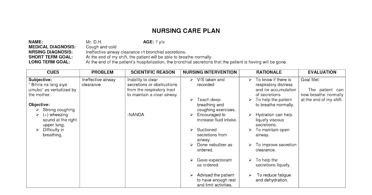 Blank Nursing Care Plans Examples Best Image nanda nursing ...