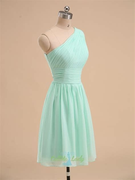 Mint green one shoulder pleated short bridesmaid dress