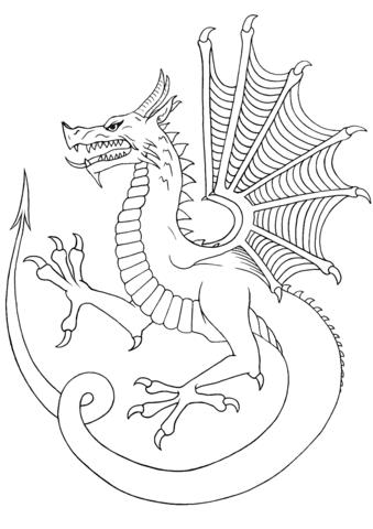 'y ddraig aur'  welsh dragon coloring page  free