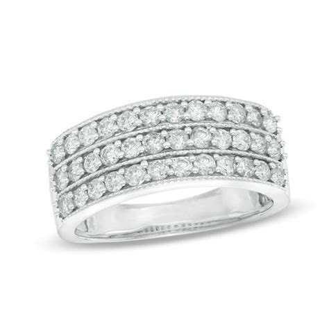 1 CT. T.W. Diamond Vintage Style Three Row Anniversary