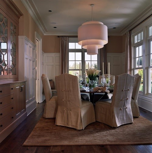 cream long skirted slip covers for dining room chairs