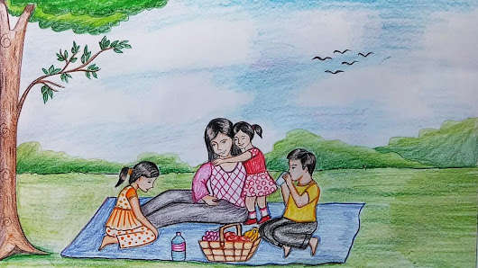 Image: How to draw scenery of family picnic step by step - YouTube