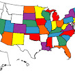 Map United States visited, US State Map, RV Map with colored states, color states map.