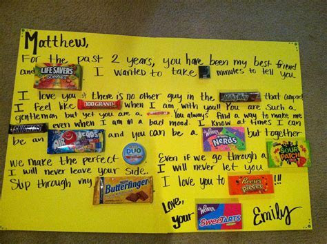 Candy card for two year anniversary   Gift Ideas