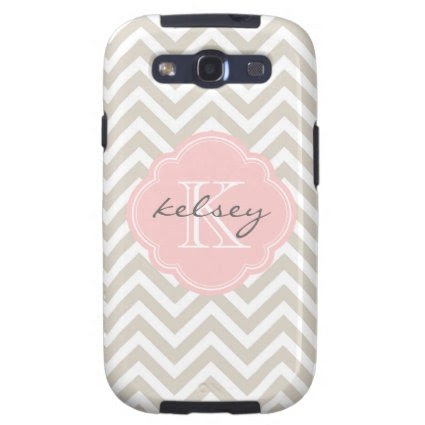 Linen Beige and Pink Chevron Custom Monogram Galaxy S3 Case