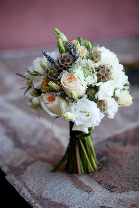 accent plants for whimsical wedding bouquet scabiosa pods