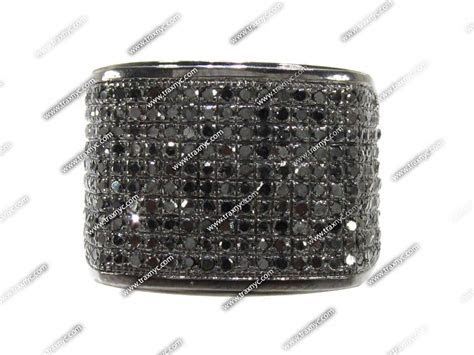 Mens Black Diamond All Around Wedding Ring Mens Pinky Ring