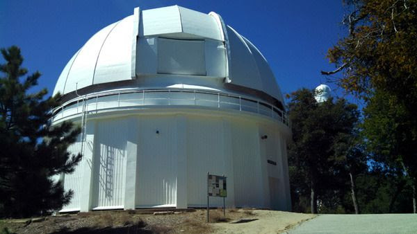The dome housing Mount Wilson Observatory's 60-inch telescope, with a 150-foot solar telescope visible in the background...on March 24, 2016.