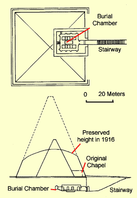 Plan and Section of the Pyramid of Taharqa at Nuri