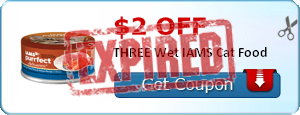 $2.00 off THREE Wet IAMS Cat Food