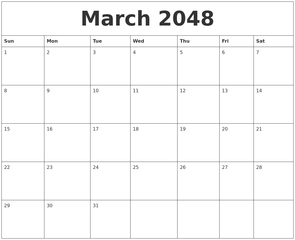 march 2048 birthday calendar template