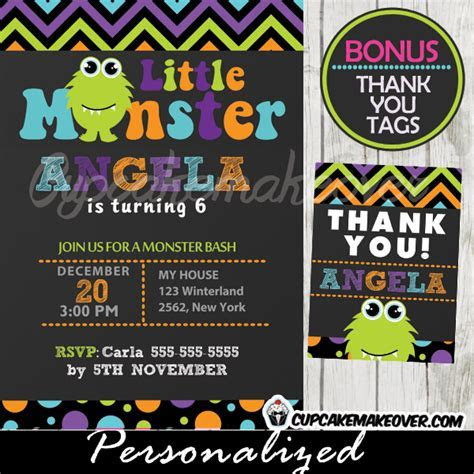 Little Monsters Birthday Party Invitation, Personalized