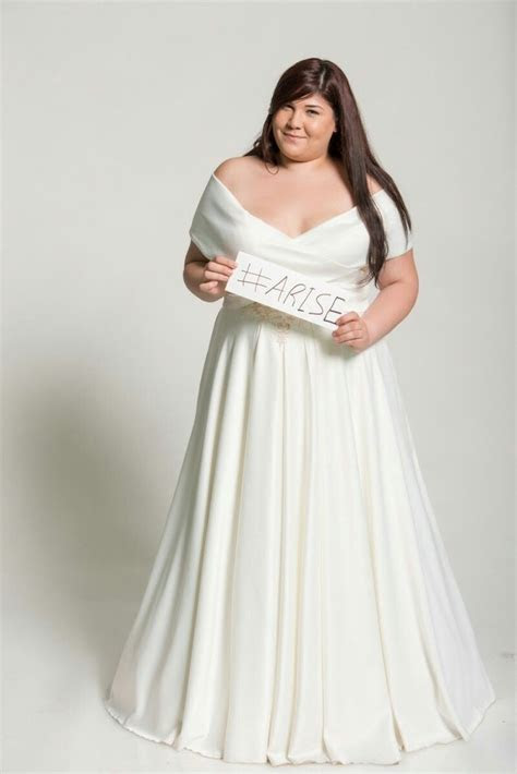 """Off shoulder curvy bridal gown on a project """"Beautiful in"""
