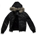 Alta Women's Faux Leather Motorcycle Jacket with Faux Fur Hood, Black
