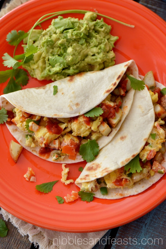Breakfast Tacos with Mexican Style Eggs and Potatoes » Nibbles and Feasts